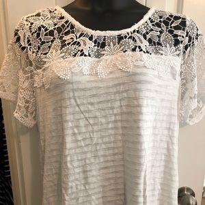 Lane Bryant Lace Top Detail White Knit Tee 18/20